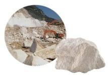 Mined limestone rock